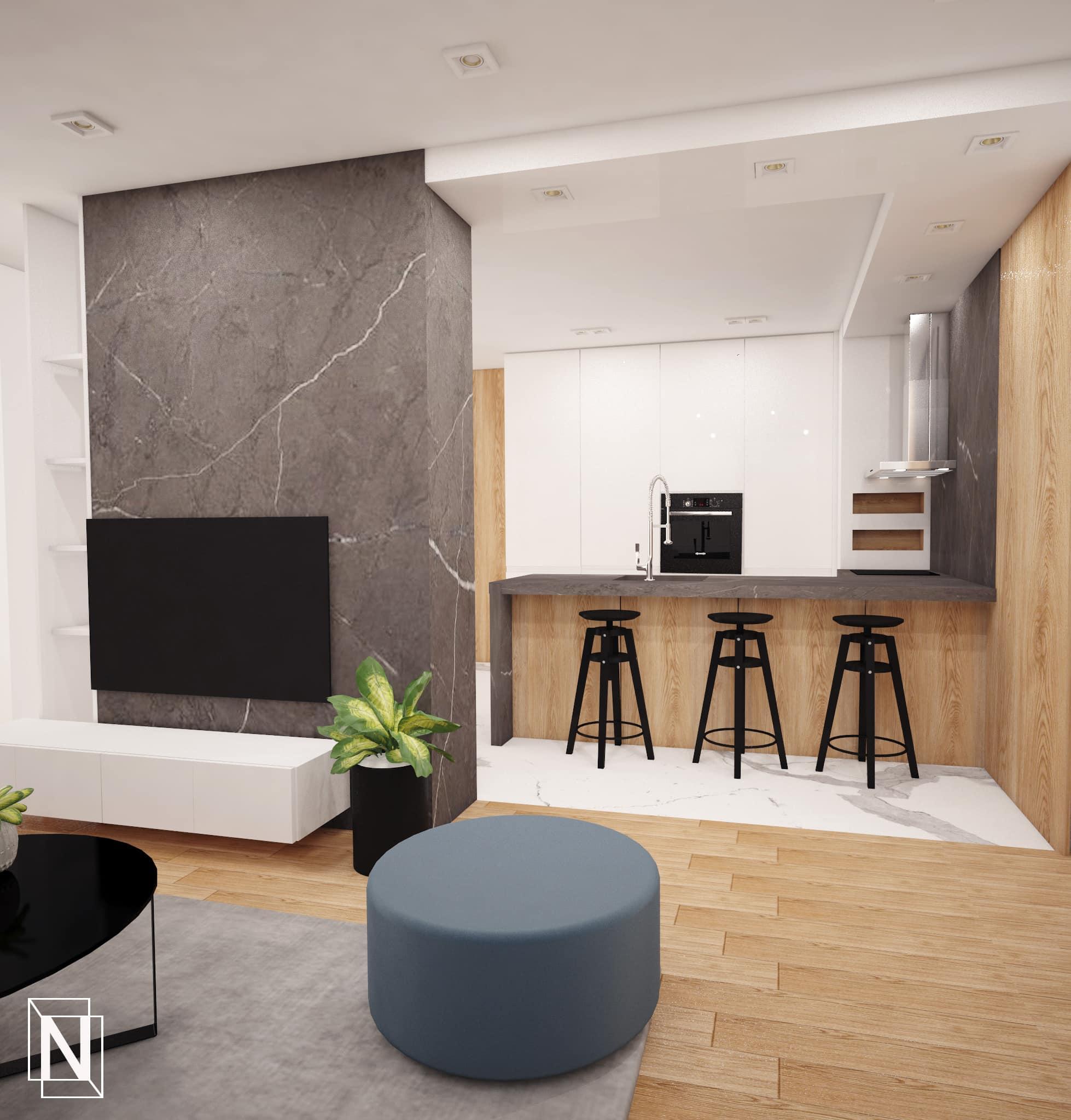 Интериорен-дизайн-дневна -кухня