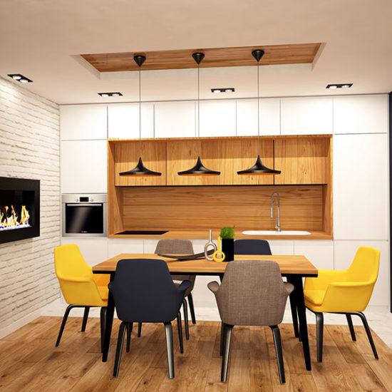интериорен дизайн дневна кухня и трапезария