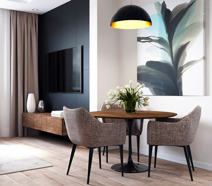 интериорен дизайн трапезария в дневната