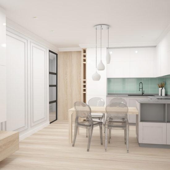 интериорен дизайн на кухня и дневна