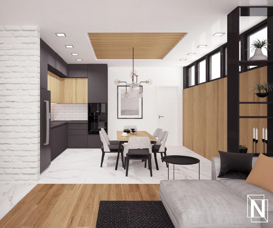 Интериор на дневната с кухня